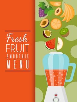 Smoothie-menü mit frischen früchten aus biologischem und natürlichem anbau