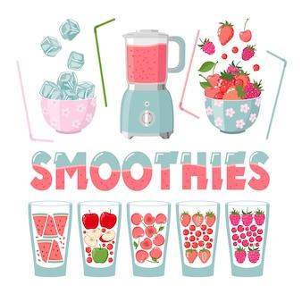 Smoothie-set: gläser, beeren, obst, mixer, eiswürfel, tuben. erdbeere, himbeere, rote johannisbeere, kirsche, apfel, wassermelone. beschriftung, lokalisiert auf einem weißen hintergrund.