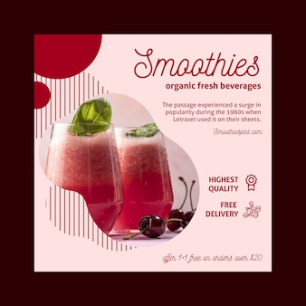 Smoothies bar square flyer