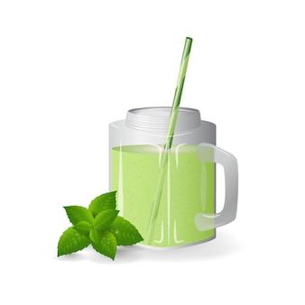 Smoothies, minze, grüner cocktail, vitamine, gesundes essen.