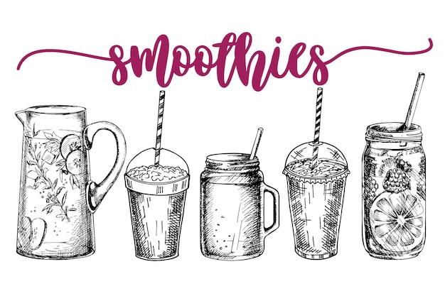 Smoothies oder detox-cocktail-poster im sketch-stil set mit handgezeichneten zutaten für eine entgiftung