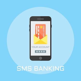 Sms bank flach design-stil illustration, smartphone auf dem bildschirm zeigt umschlag mit kreditkarte