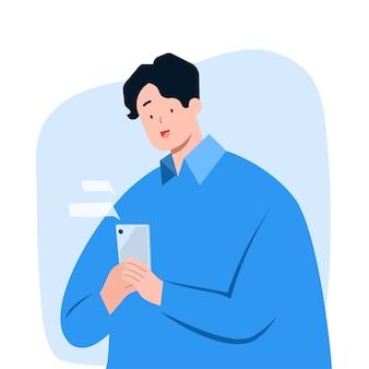 Sms des jungen mannes auf smartphone