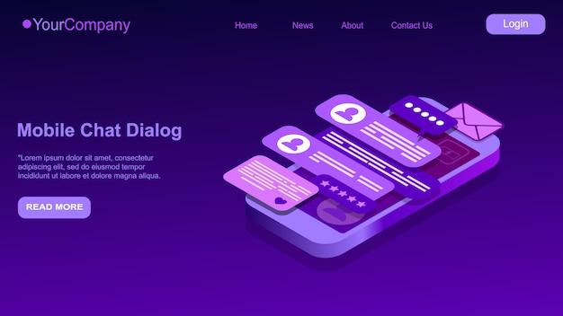 Sms isometrisch, mobiler chat-dialog, messenger-konzept, handy-tastatur, chatbot, online-support, feedback-anwendung dark neon