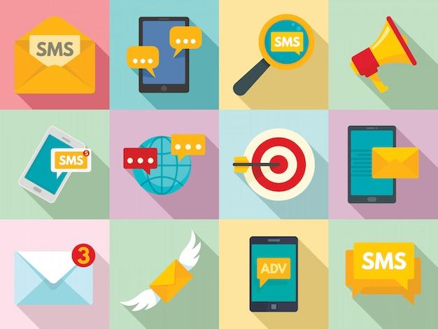 Sms-marketing-ikonen eingestellt, flache art