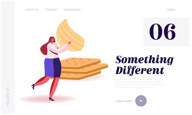 Snack, fast food mit hohem gehalt an kohlenhydraten und kalorien ungesunde ernährung website landing page.