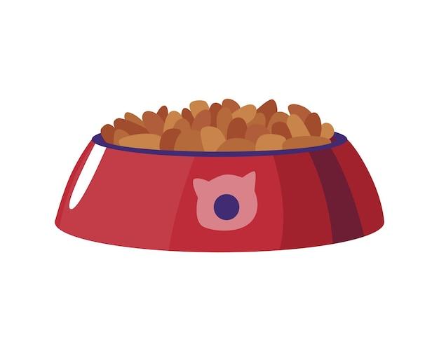 Snack für die katze. volle schüssel mit essen mit logo. vektor-trockenfutter. katzenprodukt aus der tierhandlung. flache karikaturikone lokalisiert auf weiß