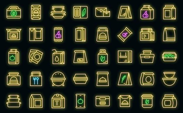 Snack pack icons set umrissvektor. süßigkeitentasche. nusspaket