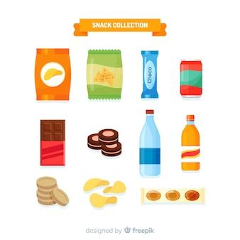 Snack-set im flachen design