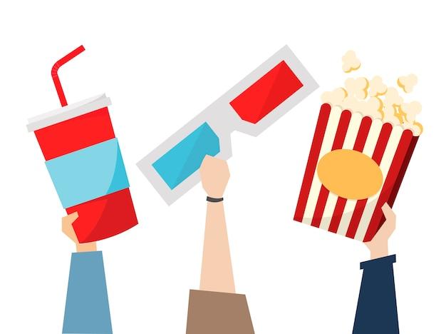 Snacks und 3d-brille für den film