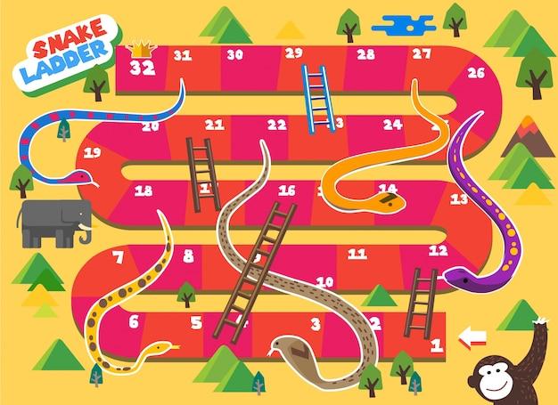 Snake and ladder brettspiel macht spaß für kinder