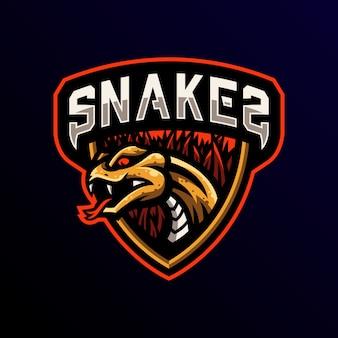 Snake maskottchen logo esport spiel