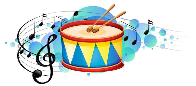 Snare drum percussion instrument mit melodiesymbolen auf himmelblauem fleck