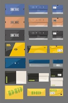 Sneaker-boxen im set isoliert auf grau