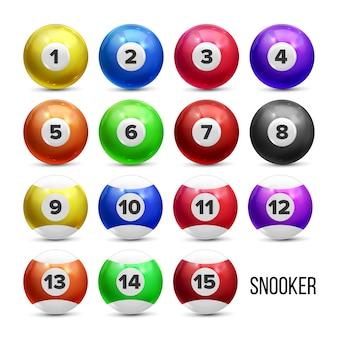 Snooker billardkugeln mit zahlen eingestellt