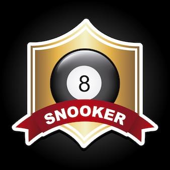 Snookerdesign über schwarzer hintergrundvektorillustration