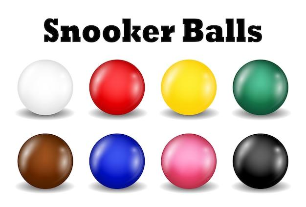 Snookerkugeln stellten auf einen weißen hintergrund ein