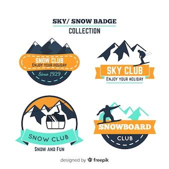 Snowboard-abzeichen-sammlung