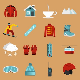 Snowboard icons set