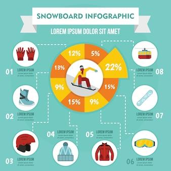 Snowboard infographik konzept, flachen stil