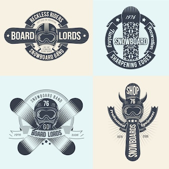 Snowboard logos vorlagensatz