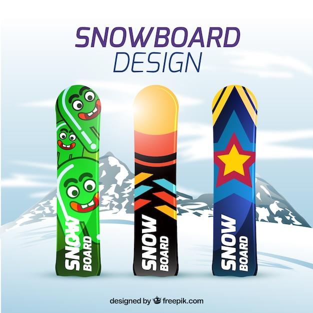 Snowboard mit modernen designs