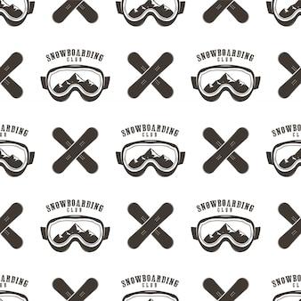 Snowboard-muster. nahtloses design des winterskis mit snowboardmasken