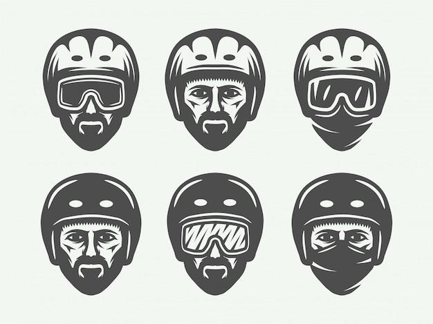 Snowboard ski oder winter kopf logos