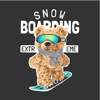 Snowboard-slogan mit bärenpuppe, die auf snowboard-illustration reitet