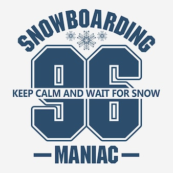 Snowboard t-shirt mode grafik, wintersport emblem,