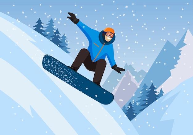 Snowboarden snowboarder gleitet auf dem hintergrund der schneebedeckten berge extremsportaktivitäten