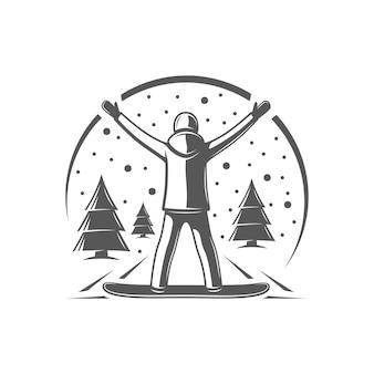 Snowboarder isoliert auf weißem hintergrund