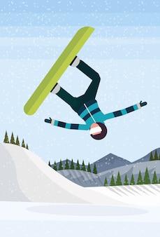 Snowboarder mann springen