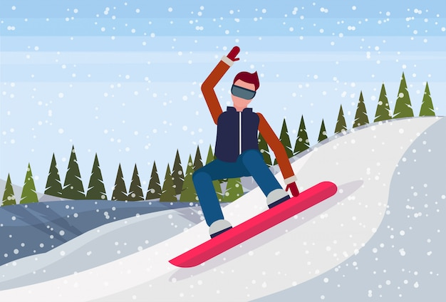 Snowboardermann, der den berg hinunter rutscht