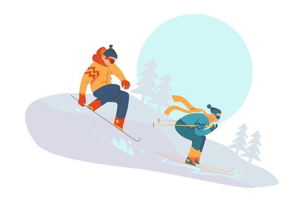 Snowboarding athlet extreme wintersportillustration