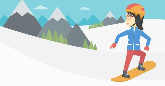 Snowboarding-vektorillustration der jungen frau.