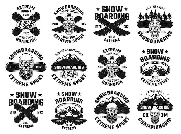 Snowboarding-winter-extremsport-embleme im vintage-stil isoliert auf weiß