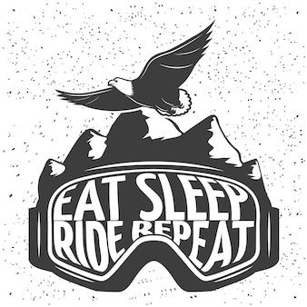 Snowboardmaske mit überschrift essen schlaf fahren wiederholen vektorillustration