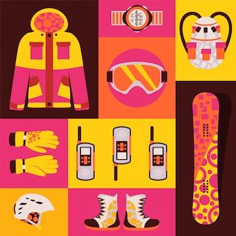 Snowboardsportkleidung, satz lokalisiertes zubehör in der bunten collage, illustration