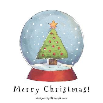 Snowglobe hintergrund mit hand gezeichneten weihnachtsbaum