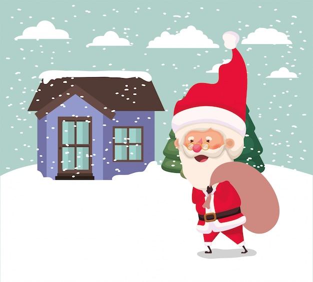 Snowscape mit netter haus- und weihnachtsmannszene