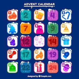 Snowy adventskalender mit einem dunkelblauen hintergrund