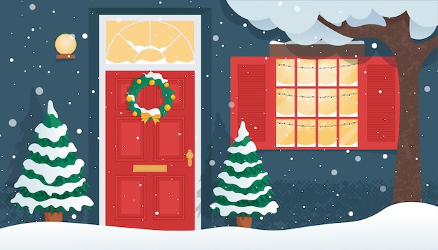 Snowy front holztür mit weihnachtskranz haus außen an der winter flat vector illustration