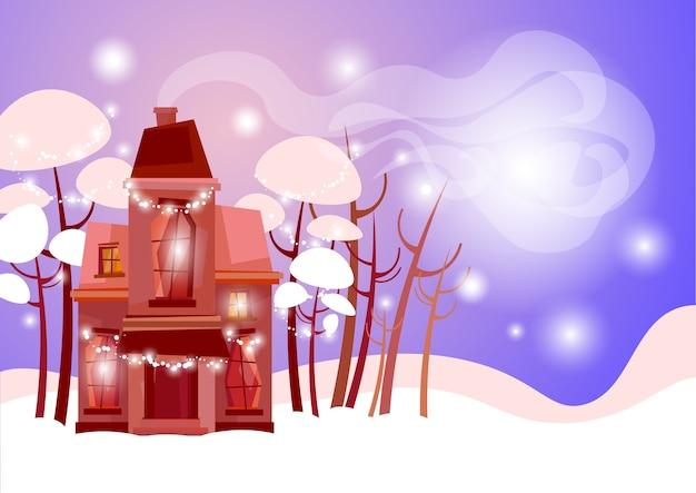 Snowy village house frohes neues jahr