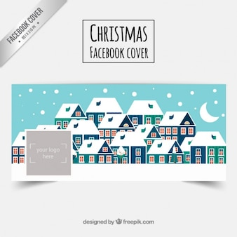 Snowy-Weihnachtsdorf Facebbok Abdeckung