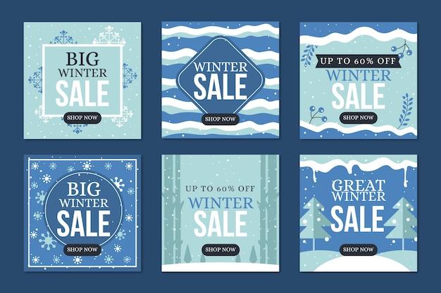 Snowy-wellen von winterschlussverkauf instagram beitrag