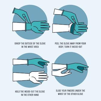 So entfernen sie handschuh sicher infografik