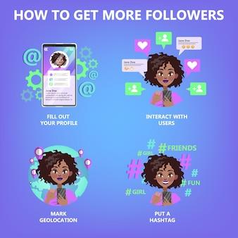 So erhalten sie mehr follower-leitfaden für leute, die beliebt sein möchten. internet-feedback, wie und teilen. leben in sozialen medien. isolierte flache vektorillustration