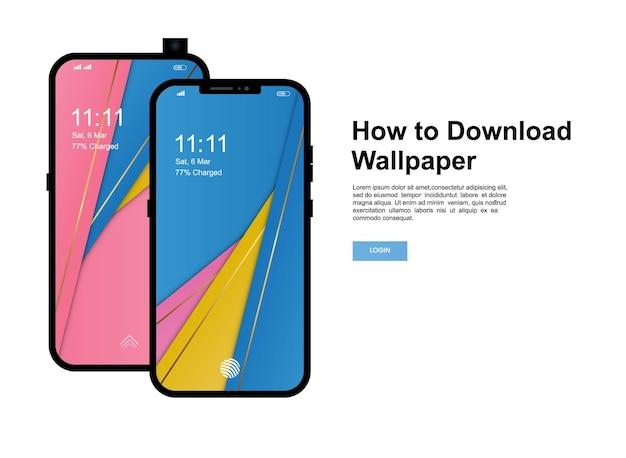 So laden sie die hintergrundbild-banner-vorlage herunter. smartphone mit modernem handy-bildschirm wallpaper design
