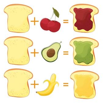 So machen sie toastzutaten für klassisches leckeres amerikanisches fast food für poster oder karten. vektor-illustration